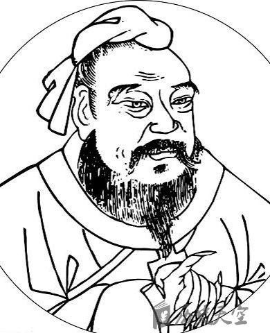 孔子简笔画全身手绘