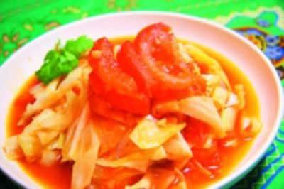 圆白菜炒西红柿的做法