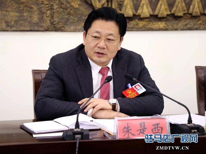 朱是西参加平舆代表团的审议政府工作报告时发言。