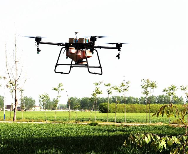 汝南县利用无人机对小麦进行统防防治