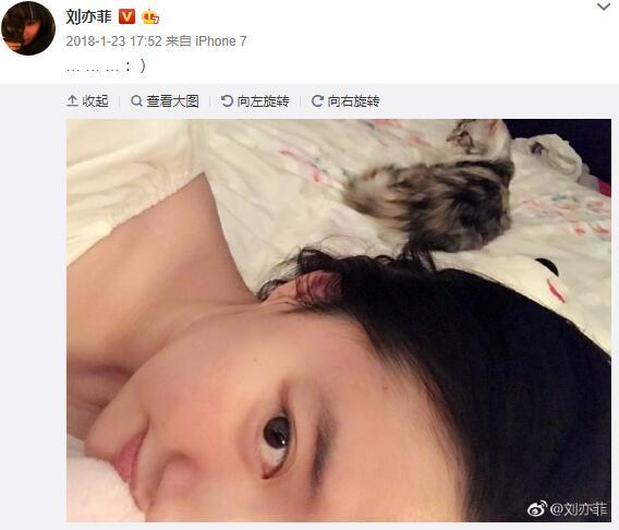 刘亦菲发自拍福利,网友没认出:还以为是网红