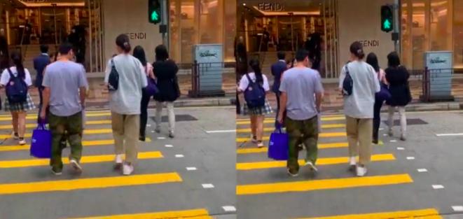 张晋陪老婆逛街,穿着低调显甜蜜,46岁蔡少芬怀三胎不用扶