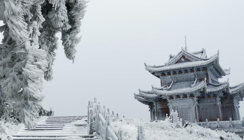 银装素裹 乐山雪景