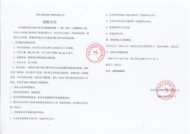 河南艾森房地产集团有限公司 招标公告
