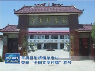 """平舆县射桥镇单老村荣获""""全国文明村镇""""称号"""